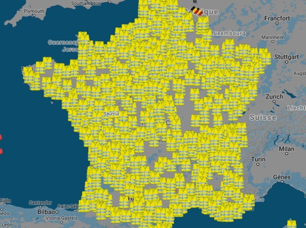 Carte gilets jaunes